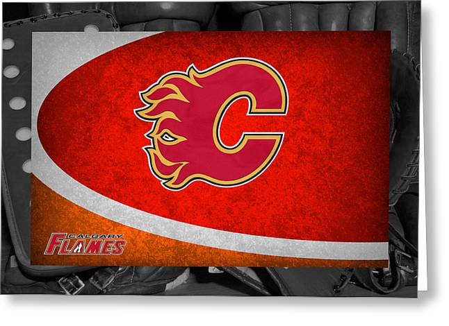 Flame Greeting Cards - Calgary Flames Greeting Card by Joe Hamilton