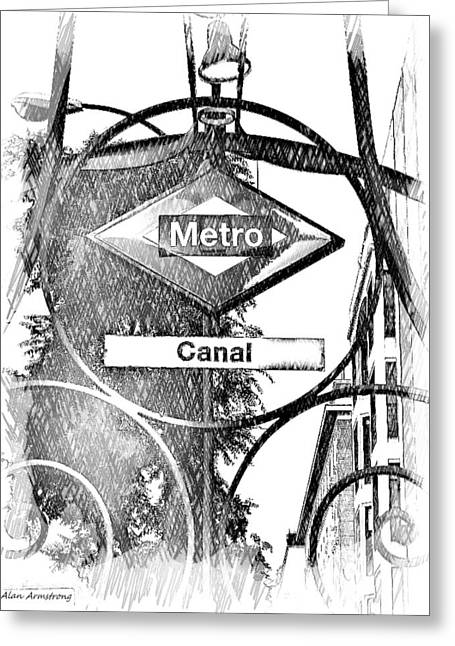 Canal Street Line Greeting Cards - 15 Canal Metro Madrid Greeting Card by Alan Armstrong