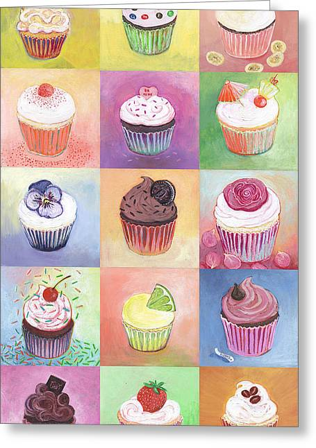 Cake Paintings Greeting Cards - 15 Cupcakes Greeting Card by Jennifer Lommers