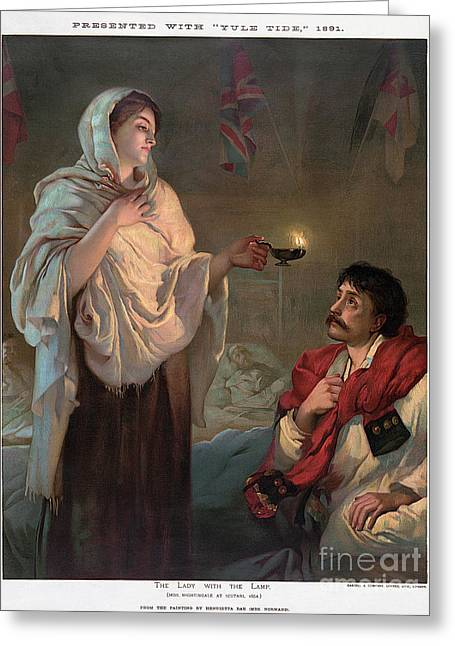 Oil Lamp Greeting Cards - Florence Nightingale Greeting Card by Granger