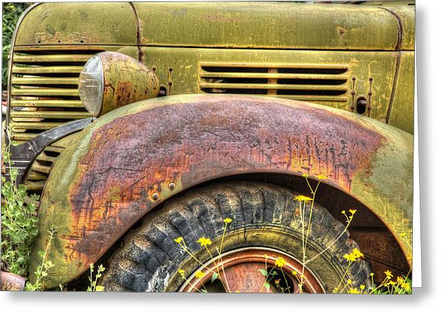 Olive Yellow Grass Greeting Cards - Gold KIng MIne Rusting Vehicle Greeting Card by Robert Jensen