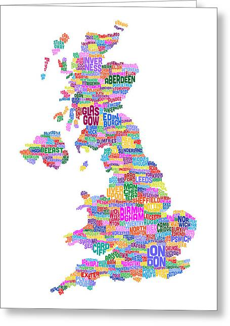 United Kingdom Map Greeting Cards - Great Britain UK City Text Map Greeting Card by Michael Tompsett