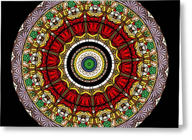 Christ Greeting Cards - Kaleidoscope Stained Glass Window Series Greeting Card by Amy Cicconi