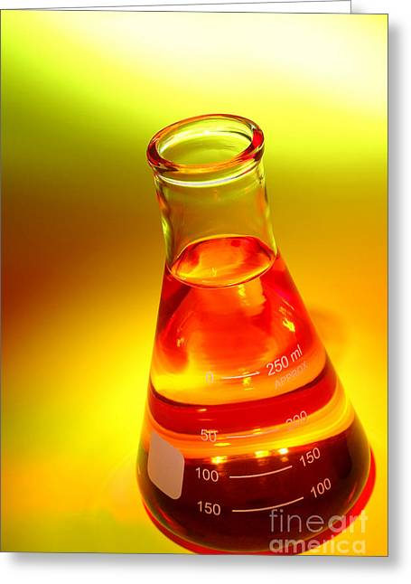 Flask Greeting Cards - Laboratory Equipment in Science Research Lab Greeting Card by Science Research Lab By Olivier Le Queinec