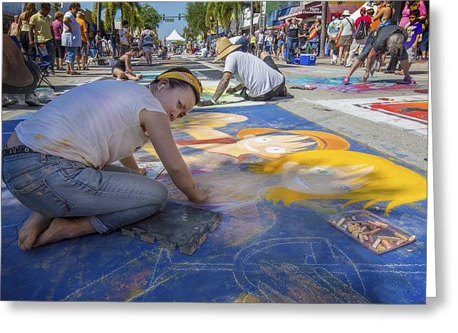 Oil Painter Photographs Greeting Cards - Lake Worth Street Painting Festival Greeting Card by Debra and Dave Vanderlaan