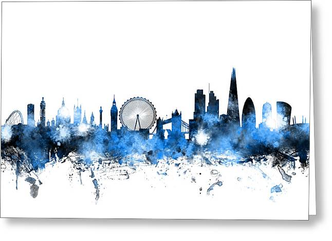 Great Poster Greeting Cards - London England Skyline Greeting Card by Michael Tompsett