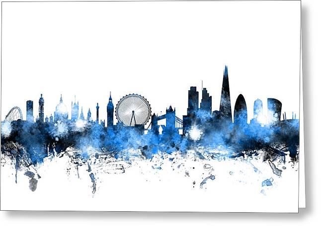 Skyline Greeting Cards - London England Skyline Greeting Card by Michael Tompsett