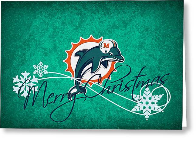 Christmas Greeting Greeting Cards - Miami Dolphins Greeting Card by Joe Hamilton