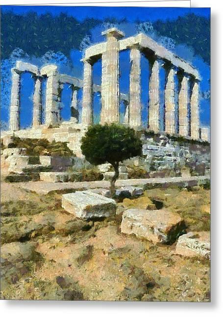 Greece Greeting Cards - Poseidon temple Greeting Card by George Atsametakis