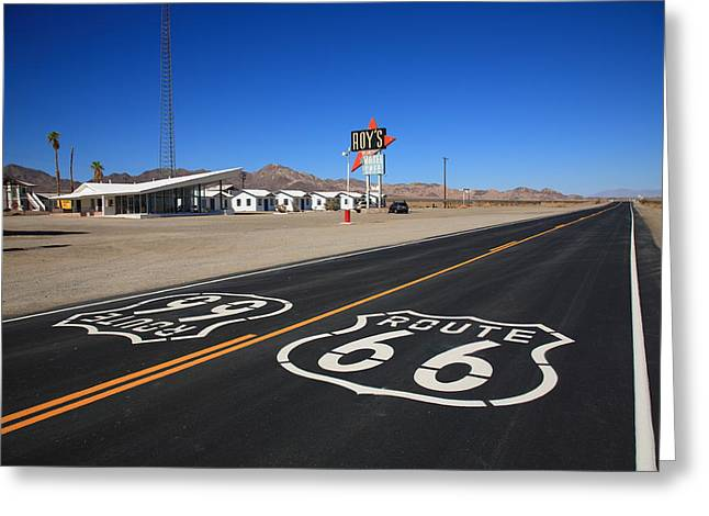 Sun Shield Greeting Cards - Route 66 Shield Greeting Card by Frank Romeo