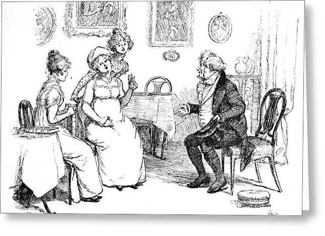Announcement Greeting Cards - Scene from Pride and Prejudice by Jane Austen Greeting Card by Hugh Thomson