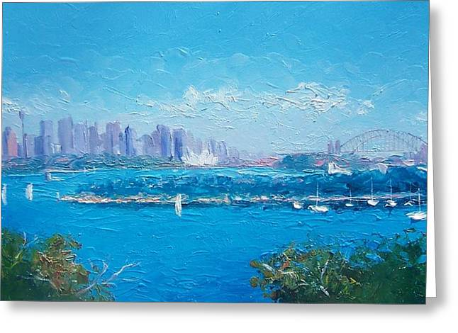 Art Of Sailing Greeting Cards - Sydney Harbour and the Opera House by Jan Matson Greeting Card by Jan Matson