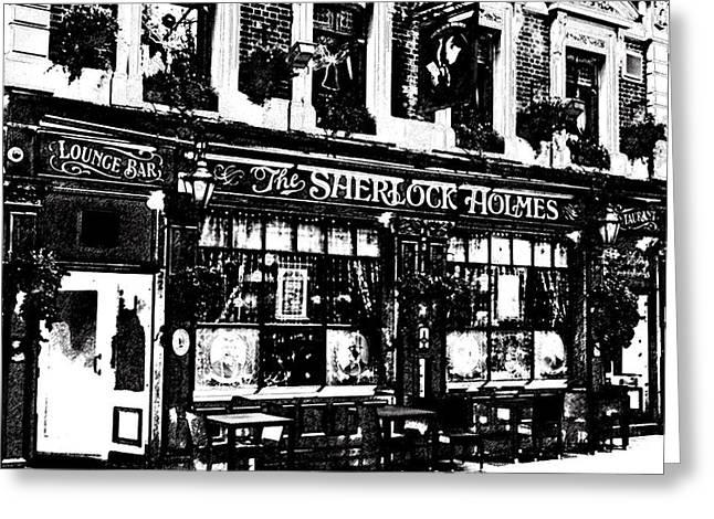 Edwardian Digital Greeting Cards - The Sherlock Holmes Pub  Greeting Card by David Pyatt