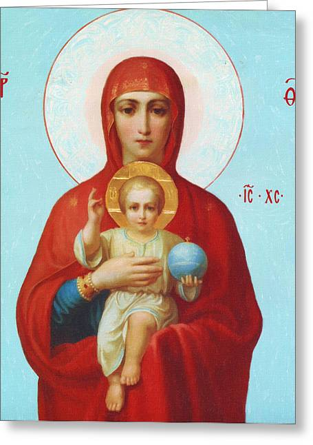 Religious Paintings Greeting Cards - The Virgin And Child Greeting Card by Victor Gladkiy