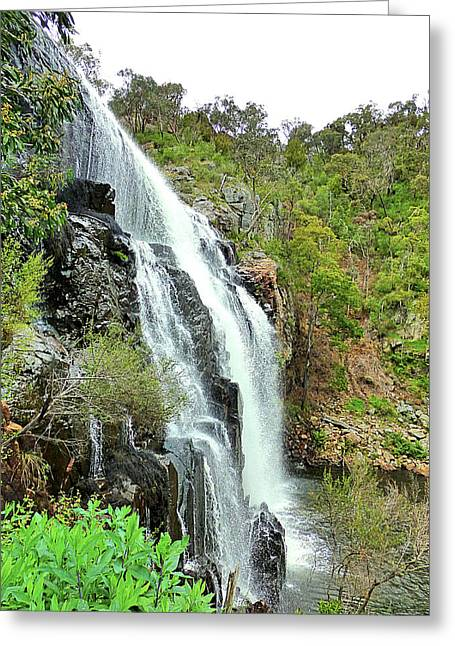 Forest Greeting Cards - Waterfalls Greeting Card by Girish J