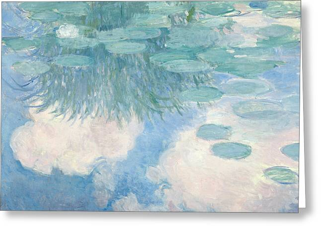 Blue Green Water Greeting Cards - Waterlilies Greeting Card by Claude Monet