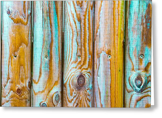 Timber Posts Greeting Cards - Wooden background Greeting Card by Tom Gowanlock