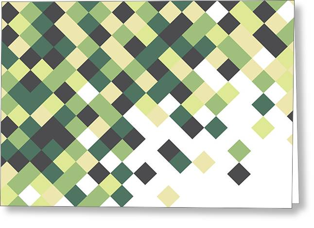 Geometric Artwork Greeting Cards - Pixel Art Greeting Card by Mike Taylor