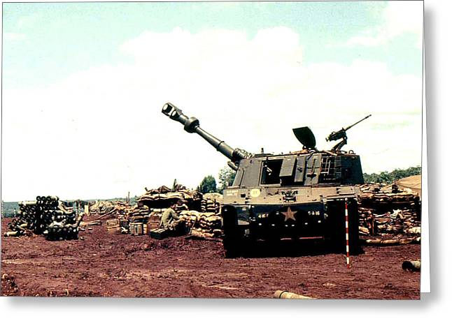 155 Greeting Cards - 155 mm Self Propelled Gun Greeting Card by Norman Johnson