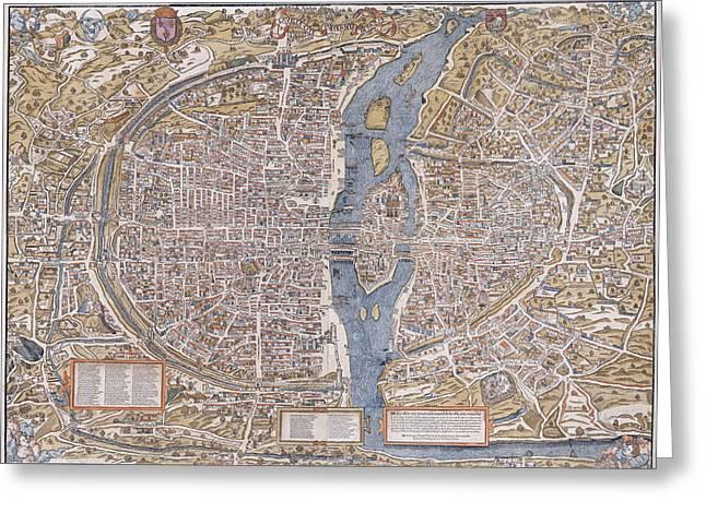 Hand Drawn Greeting Cards - 1555 Paris France Map Greeting Card by Daniel Hagerman
