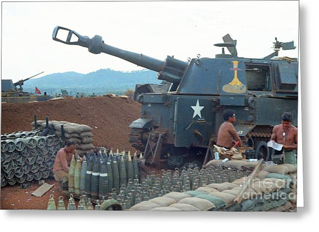 155 Greeting Cards - 155mm M109 SP howitzer 5th 16th Field Artillery 4th Infantry Division Pielku Vietnam 1968 Greeting Card by California Views Mr Pat Hathaway Archives