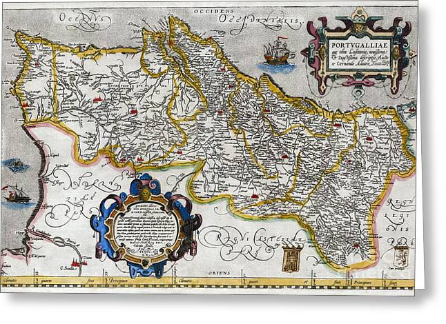 Ortelius Greeting Cards - Map of Portugal by Ortelius - 1560 Greeting Card by Pablo Romero
