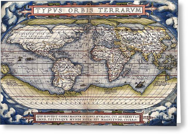 Ortelius Greeting Cards - World Map by Ortelius - 1564 Greeting Card by Pablo Romero
