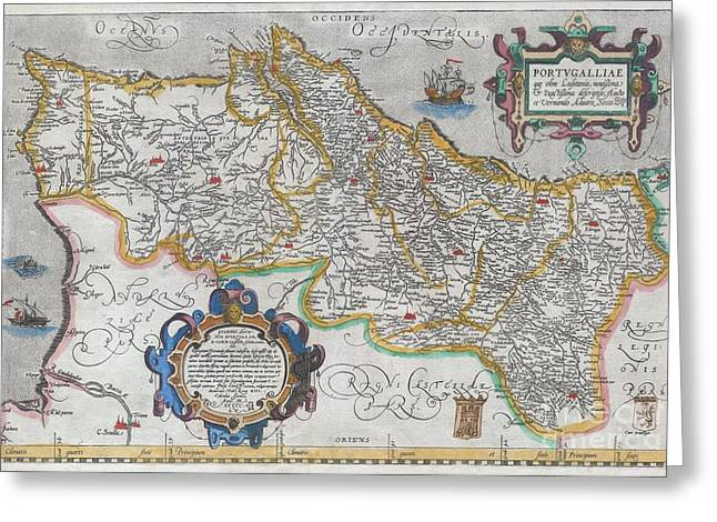 Not In Service Greeting Cards - 1579 Ortelius Map of Portugal  Greeting Card by Paul Fearn