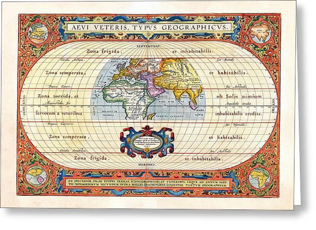 Balthasar Greeting Cards - 1590 Historical World Rare Map Aevi Veteris Typus Geographicus Greeting Card by Karon Melillo DeVega