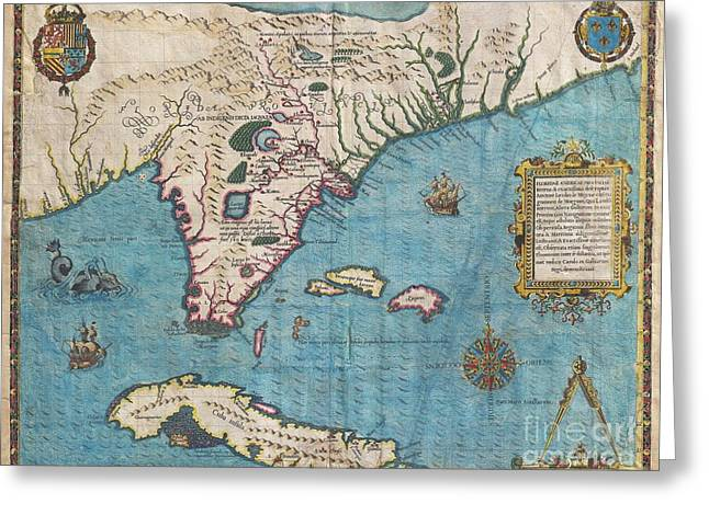 Take Command Greeting Cards - 1591 De Bry and Le Moyne Map of Florida and Cuba Greeting Card by Paul Fearn