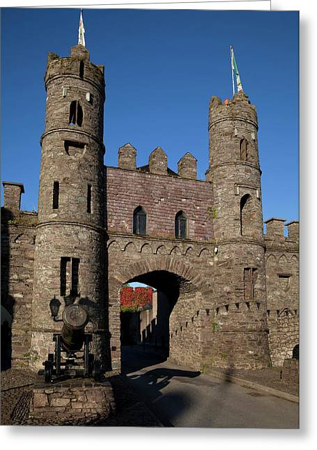 15th Century Castle In The Market Greeting Card by Panoramic Images