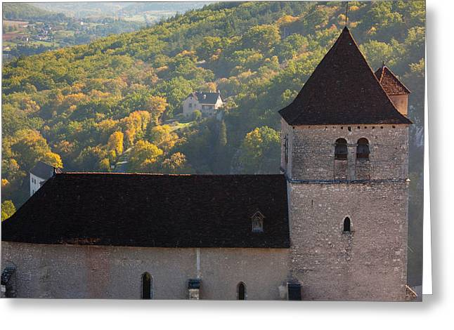 Midi Greeting Cards - 15th Century Church At St-cirq-lapopie Greeting Card by Panoramic Images