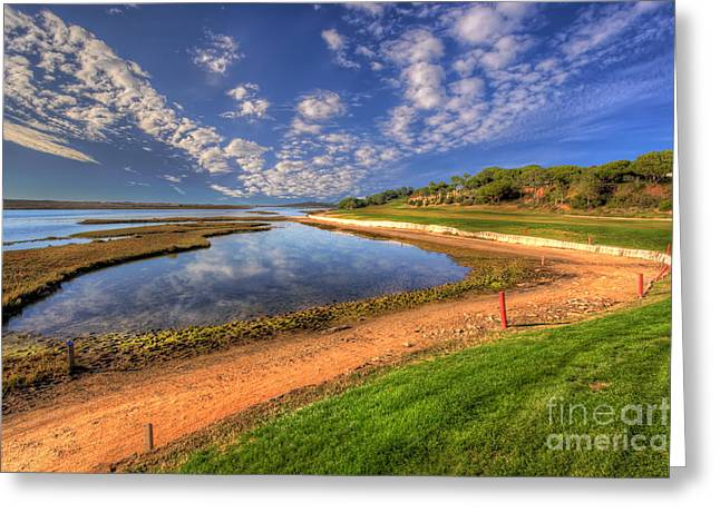 Praia De Faro Greeting Cards - 15th Fairway Greeting Card by English Landscapes