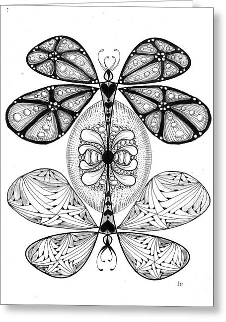 Ink Drawing Greeting Cards - 16 - 2 Pt Symmetry Greeting Card by Jeanne Donovan