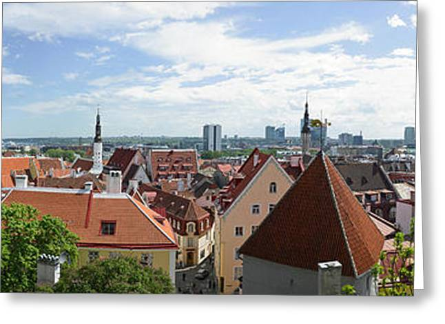 Tallinn Greeting Cards - Aerial View Of Buildings In A City Greeting Card by Panoramic Images