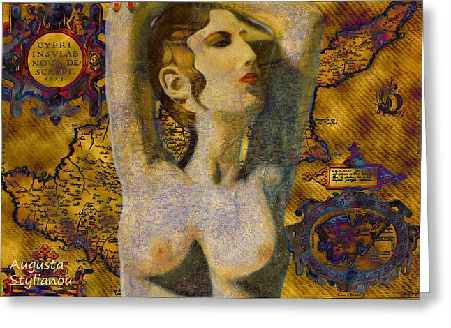 Old Map Digital Art Greeting Cards - Ancient Cyprus Map and Aphrodite Greeting Card by Augusta Stylianou