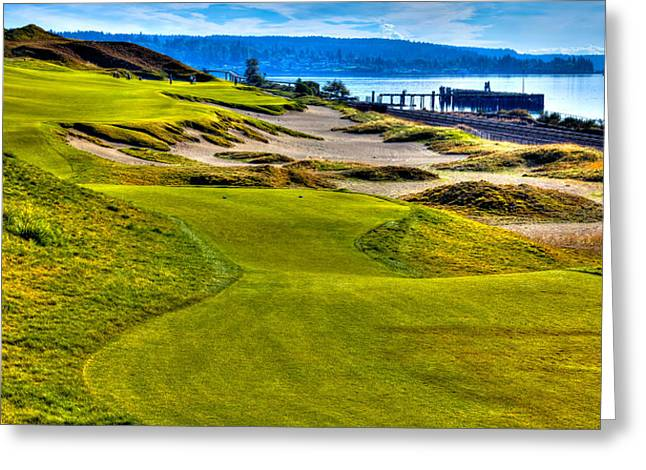 Chambers Bay Golf Course Greeting Cards - #16 at Chambers Bay Golf Course - Location of the 2015 U.S. Open Championship Greeting Card by David Patterson