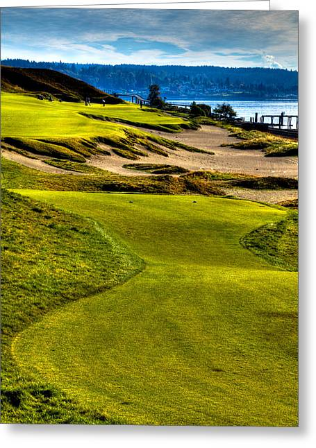 Chambers Bay Golf Course Greeting Cards - #16 at Chambers Bay Golf Course - Location of the 2015 U.S. Open Tournament Greeting Card by David Patterson