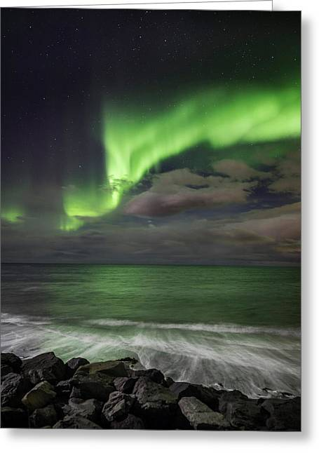 Color Green Greeting Cards - Aurora Borealis Or Northern Lights Greeting Card by Panoramic Images