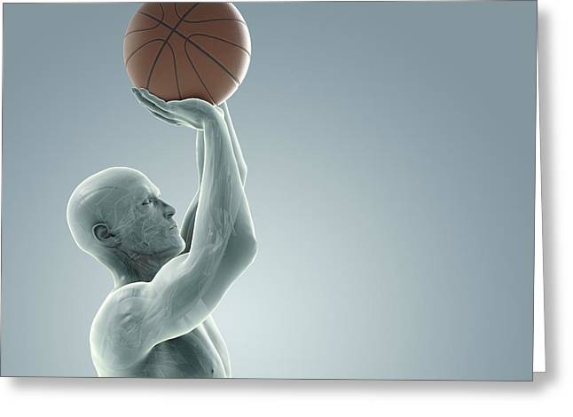 Physical Body Greeting Cards - Basketball Shot Greeting Card by Science Picture Co