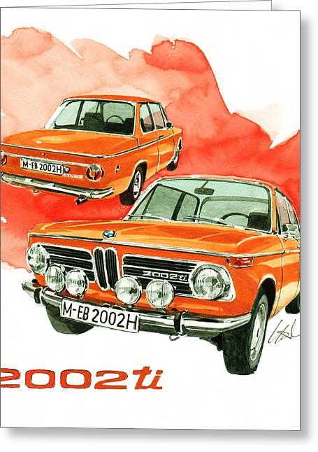 Bmw 2002 Greeting Cards - BMW 2002 ti Greeting Card by Yoshiharu Miyakawa