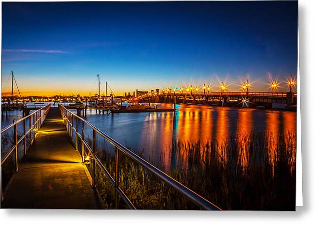 Lions Gate Bridge Greeting Cards - Bridge of Lions St Augustine Florida Painted  Greeting Card by Rich Franco