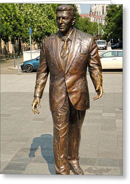 Gregory Dyer Greeting Cards - Budapest Hungary - Ronald Reagan Statue Greeting Card by Gregory Dyer