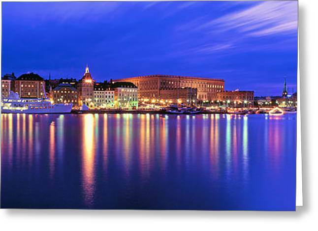 Royal Palace Greeting Cards - Buildings At The Waterfront Lit Greeting Card by Panoramic Images