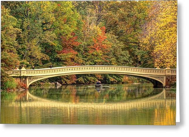 Rowing In Central Park Greeting Cards - Central Park in Fall Greeting Card by Geraldine Scull
