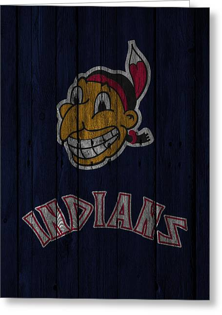Barn Door Greeting Cards - Cleveland Indians Greeting Card by Joe Hamilton