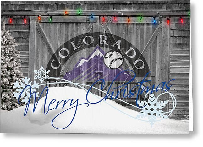 Glove Greeting Cards - Colorado Rockies Greeting Card by Joe Hamilton
