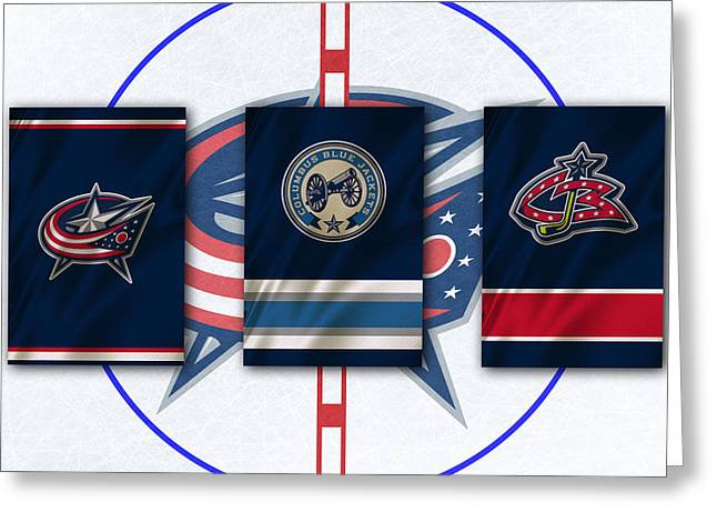 Skate Greeting Cards - Columbus Blue Jackets Greeting Card by Joe Hamilton