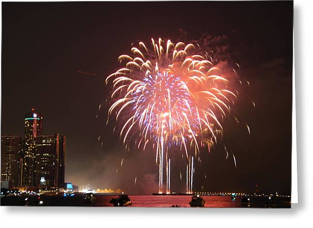 Detroit Fireworks Greeting Card by Gary Marx