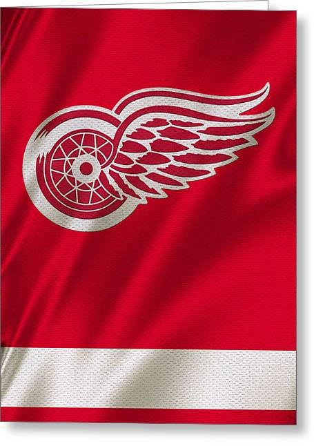 Skates Greeting Cards - Detroit Red Wings Greeting Card by Joe Hamilton